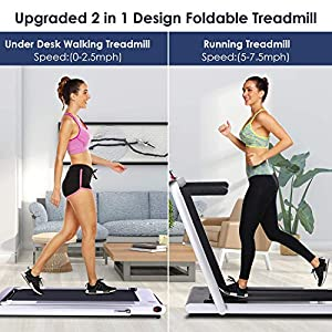 2 in 1 Under Desk Folding Treadmill,Electric Motorized Portable Pad Treadmills Walking Jogging Running Exercise Fitness Machine with Remote Controller and Bluetooth Speaker for Home Gym