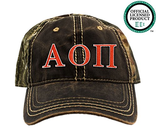 Alpha Omicron Pi Embroidered Camo Baseball Hat, Various Thread Colors