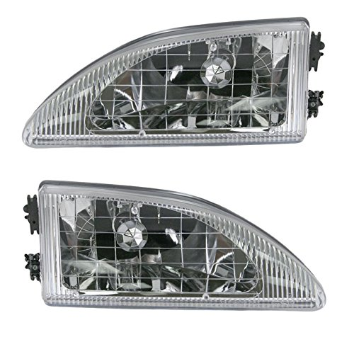 Headlights Headlamps Left & Right Pair Set Kit for 94-98 Ford Mustang Cobra - Mustang Headlight Kits