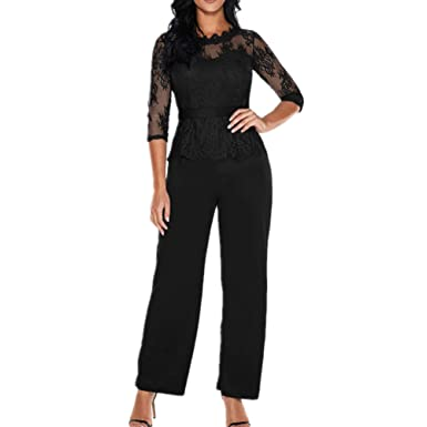 aad28cea6ae4 Lover-Beauty Women Lace Jumpsuit High Waist Solid Color Playsuit Wide Leg  Romper  Amazon.co.uk  Clothing