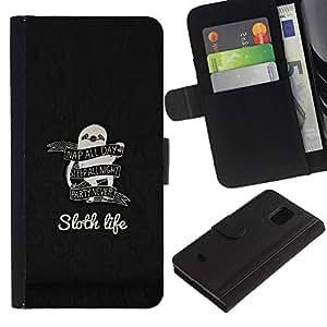 EJOY---Tirón de la caja Cartera de cuero con ranuras para tarjetas / Samsung Galaxy S5 Mini, SM-G800 / --Pereza La vida divertida Consejos