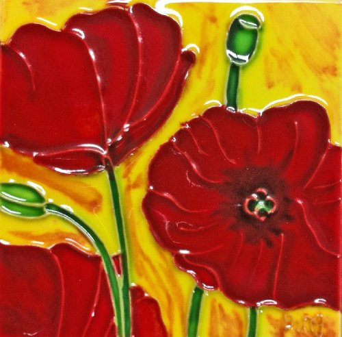 Continental Art Center SD-005 4 by 4-Inch Red Poppy Ceramic Art Tile
