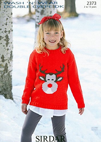 Sirdar Wash N Wear Dk Childrens Christmas Sweater Knitting Pattern