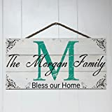 Artblox Personalized Rustic Family Wood Sign Home Decor, Custom Family Initials and Family Name, Real Vintage Barn Wood Farmhouse Style Wooden Wall Art Country Pallet Plaque 10.5×21