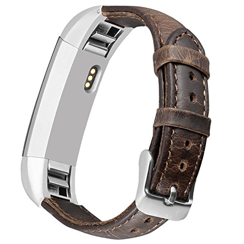 UMAXGET Leather Band Compatible with Fitbit Alta (HR)/Ace Bands, Retro Genuine Leather Replacement Strap with Metal Buckle Compatible with Fitbit Alta (HR)/Ace Women Men