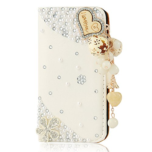 iPhone SE Case,iPhone 5S Case,iPhone 5 Case,3D Handmade Wallet Bling Crystal PU Leather with Love Heart Pendant Sparkle Diamond Flower Design Card Holder Flip Case Folio Cover By Mavis's Diary (White)