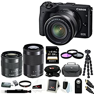 Canon EOS M3 Mirrorless Camera with EF-M 18-55mm Lens (Black) + Sony 16GB SD Card + 52mm Filter Kit + Gadget Case and Accessory Bundle