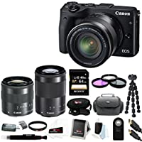 Canon EOS M3 Mirrorless Camera EF-M 18-55mm & 55-200mm Lenses + Canon Viewfinder EVF DC1 & 64GB SD Card Bundle Key Pieces Review Image