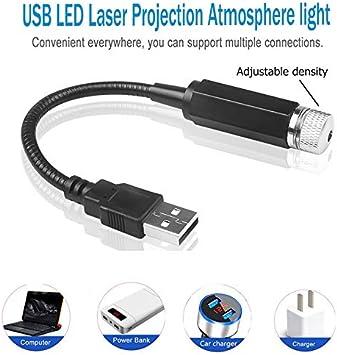 Regalo per camera da letto auto luce notturna per proiettore a stella TIAS Luce laser USB galassia romantica regolabile Luci interne flessibili per auto
