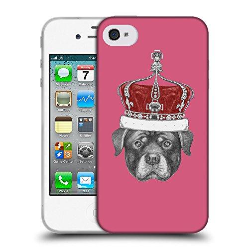GoGoMobile Coque de Protection TPU Silicone Case pour // Q05450614 Rottweiler couronne Rougir // Apple iPhone 4 4S 4G