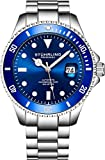 Stuhrling Original Ltd Edition Deep Blue Dial Mens Automatic Self Wind Dive Watch 200M Water Resistant Unidirectional Ratcheting Bezel Stainless Steel Bracelet Screw Down Crown Sport Watch