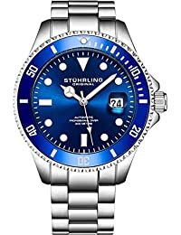 Stuhrling Original Ltd Edition Deep Blue Dial Mens Automatic Self Wind Dive Watch 200M Water Resistant Unidirectional Ratcheting Bezel Stainless Steel Bracelet Screw Down Crown Sport Watch (Blue)