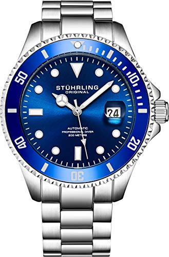 (Stuhrling Original Mens Stainless Steel Automatic Self Wind Dive Watch Deep Blue Dial 200M Water Resistant Unidirectional Ratcheting Bezel Screw Down Crown Sport Watch 792 Series)