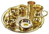 SHIV SHAKTI ARTS Brass Thali Set 6 Pcs 3 Brass Bowls1 Mug 1 Big Plate 1 Rice Plate 1 Glass Restaurant Ware Home Hotel