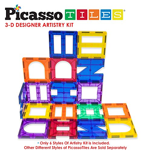 PicassoTiles-PT42-Designer-Artistry-Kit-42pcs-Set-Magnet-Building-Tiles-Clear-Color-Magnetic-3D-Building-Block-Creativity-Beyond-Imagination-Educational-Inspirational-Conventional-Recreational