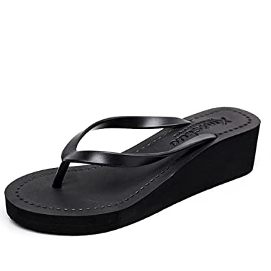 CHENGXIAOXUAN Women's Flip-Flops Blumen-Clip Wie Füße Hausschuhe Tragen Neue Sandalen Strandschuhe Steigung mit Flip-Flops Sandalen Schuhe Freizeit Rom Schuhe Absatz 7cm,Black-36
