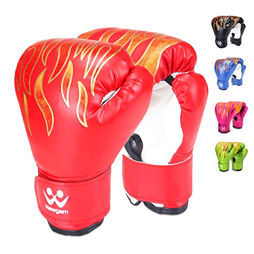 Newgam Kids Boxing Gloves, Children Junior Sparring Kickboxing Training Gloves,Junior Punch Bag MMA Training Muay Thai Mitts - PU Leather - 5oz for 3 to 14 YR, Red -