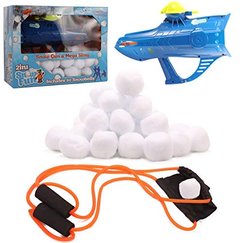 High Bounce 2 in 1 Snowball Shooting Gun and Slingshot, 50 Snowballs Included. Great for Indoors and Outdoors