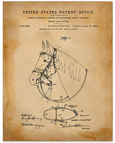 - Horse Bridle and Halter - 11 x 14 Unframed Patent Print - Great Gift for your favorite Equestrian, Horse Lover, or Cowboy
