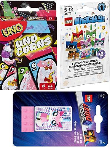 Kitty Unicorns Game Set Uno Theme Magical Unicorn & Lego o Unikitty Puppycorn Blind Bag Minifigure / 2 Movie Borradores Uni Kitty Silly Fun Theme Deck Edición UnoCorns Juego de cartas a juego