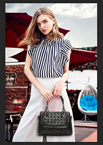 Rivet de de à bandoulière à à 13 B noir sac mode Sac bandoulière 19CM cuir 26 Trend main dames en sac EZqWAz