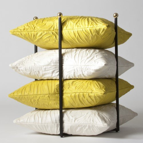 Open Square Pillow Holder Rack | Gold Stacking Organizer Shelf Quilt Linen by Global Views (Image #2)