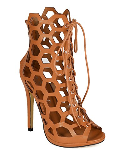 Wild Rose CB92 Women Leatherette Honeycomb Cut Out Peep Toe Platform Stiletto Sandal Bootie - Taupe (Size: 8.0)