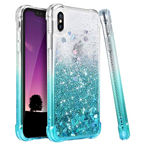 iPhone X Case, iPhone Xs Case, Ruky [Gradient Quicksand Series] Glitter Flowing Liquid Floating TPU Bumper Cushion Reinforced Corners Girls Women Phone Case for iPhone X/Xs 5.8 inch, Gradient Teal