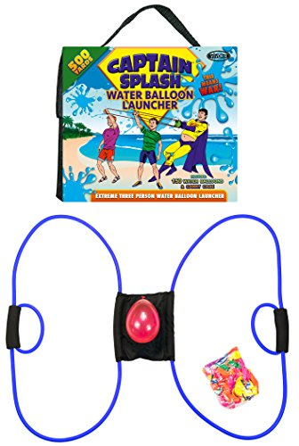 Water Balloon Launcher 500 Yards by Captain Splash, 3 Person Slingshot Cannon Catapult, 150 FREE Water Balloons & Carry Case Included (Blue, Extra Strong Latex Sling) 2019 Edition. Outdoor Games by Vivorr (Image #6)