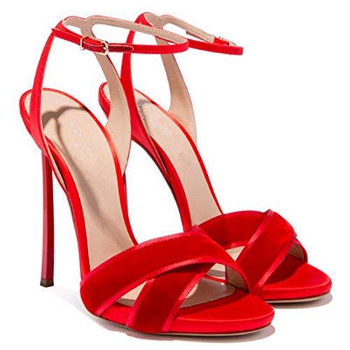 TAOFFEN Women Party Sandals High Heel Red n01Fr