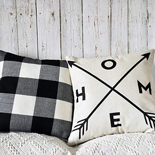 PANDICORN Set of 2 Modern Farmhouse Decorative Throw Pillows Covers, Rustic Linen Throw Pillow Cases with Inspirational Saying Home Arrow, Black and White Buffalo Check Pillowcases for Couch, 18 x 18