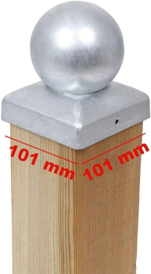 3 x PFOSTENKAPPE KUGEL STAHL FEUERVERZINKT 101 x 101 MM