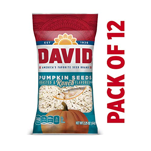 DAVID Roasted and Salted Ranch Pumpkin Seeds, Keto Friendly, 2.25 oz, 12 Pack (Flavored Pumpkin Seeds)