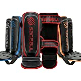 Sanabul Essential Hook and Loop Strap Kickboxing Muay Thai MMA Shin Guards (Red, XS)