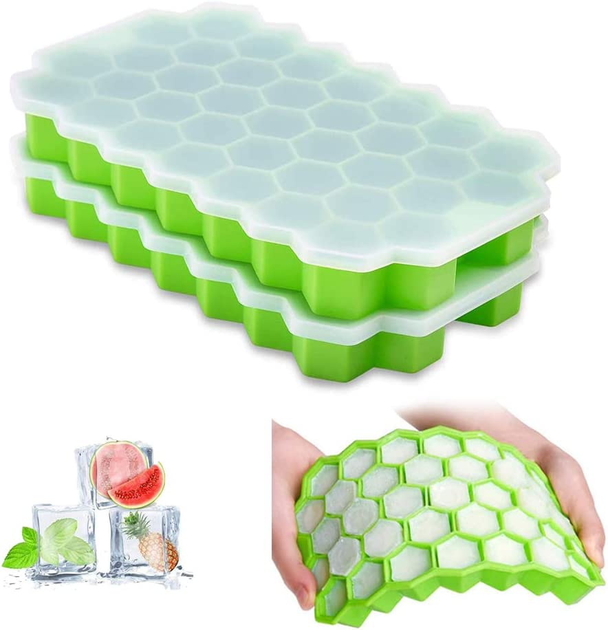Ice Cube Trays with Lids 2 Pack Small Food Grade Silicone BPA Free for Freezer Flexible Easy-Release Stackable Ice Cube Molds (Green)