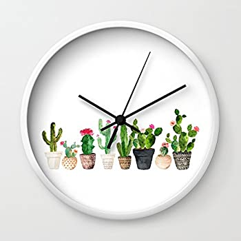 Society6 Cactus Wall Clock White Frame, Black Hands
