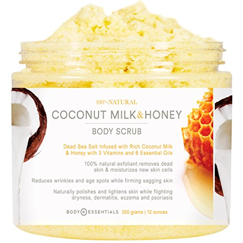 Body Essentials Coconut Milk & Honey Comb Body Scrub with Dead Sea Salt - 6 Essential Oils - 3 Vitamins - 100% Natural Exfoliant - Organic - Younger Healthier Skin