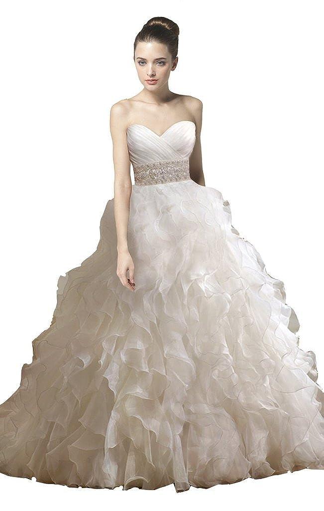 BessWedding Womens Ruffle Train Ruched Wedding Dresses Long Beading Ball Gowns