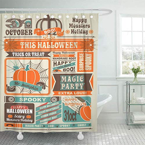 AUUOCC shower-curtains 72 x 78 inches Magazine News Newspaper Devoted to Halloween with and Retro Blank Border Day Set with Hooks Decorative Waterproof Polyester Fabric Bathroom Shower Curtains