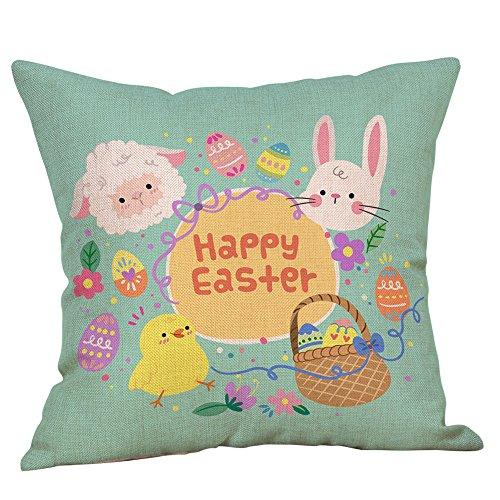 IAMUP Easter Cotton Square Rabbit Throw Pillow Case Waist Cushion Cover Home Cute Decor