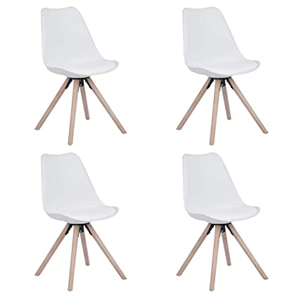 Sep Home - Juego de 4 sillas escandinavas Blancas de Cocina ...