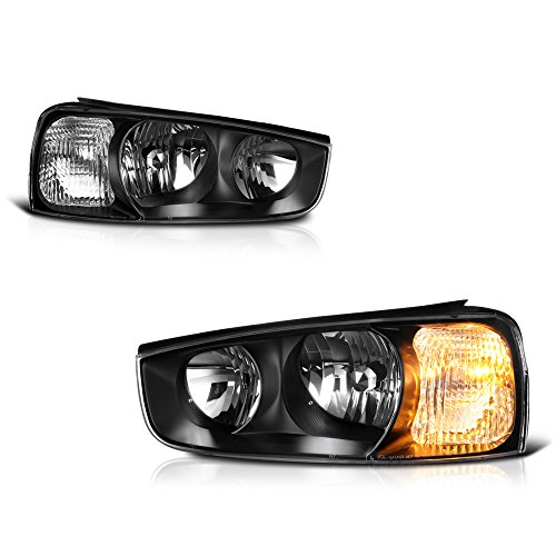 VIPMotoZ 2001-2003 Hyundai Elantra Headlights - [Factory Style] - Matte Black Housing, Driver and Passenger (Pair Hyundai Elantra Headlight)