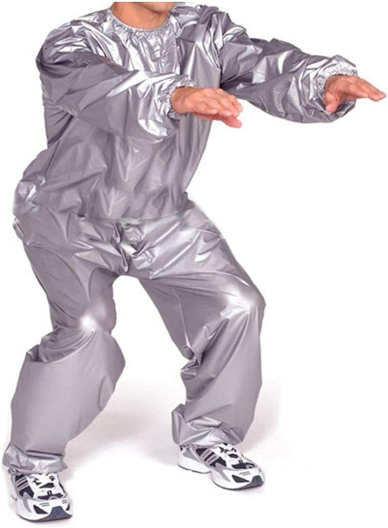 sandywident Heavy Duty Fitness Weight Loss Sweat Sauna Suit Exercise Gym Anti-Rip Silver,XXL