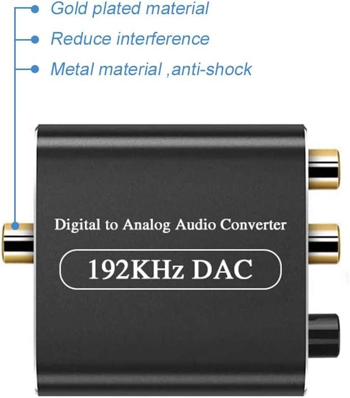 DAC Konverter mit Lautst/ärkeregler,Ozvavzk Digital zu Analog Wandler 192Khz Digital SPDIF Toslink zu Analog Stereo L//R RCA 3,5 mm Jack Audio Adapter mit Optischem Kabel f/ür PS3 PS4 Xbox HDTV