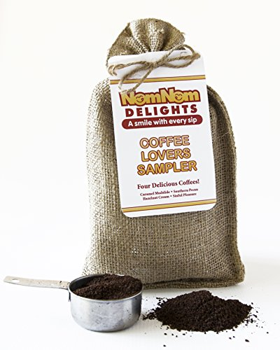 Coffee Gift : Gourmet Coffee Sampler 4 Flavored Coffees Ground | Hazelnut Cream - Caramel Mudslide - Southern Pecan - Sinful Pleasure | Burlap Gift Bag 1.5 Oz Packets