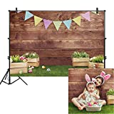 Allenjoy 7x5ft Fabric Spring Easter Backdrops for Girls Photography Wrinkle Free Happy Bunny Rabbit Green Grass Brown Wooden Wall Baby Shower Kids Newborn Portrait Background Photo Studio Shooting