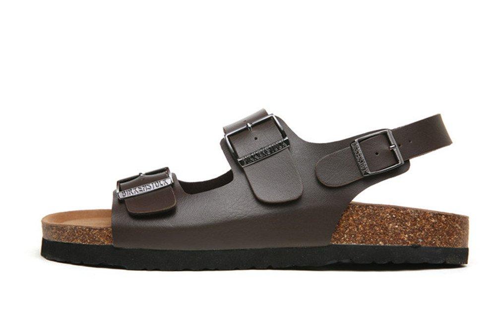 Dos Correas Sandalias Moda Hombres Zapatos De Playa Corcho Zapatillas de pie Flip Flop Sandalias Antideslizantes. 8.5UK/9US/43EU|Marrón Oscuro