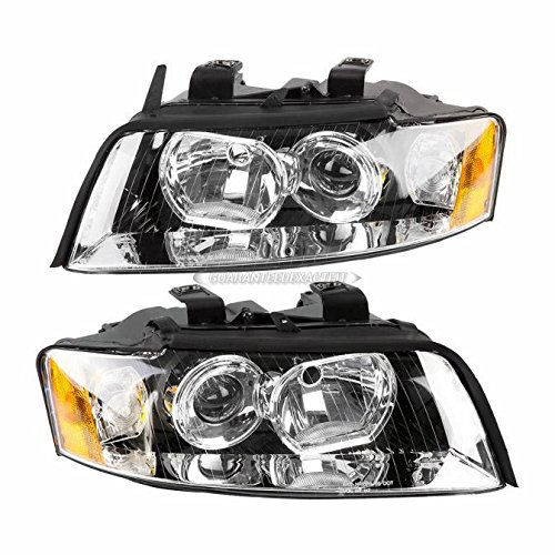 Pair New Left Right Headlight Assembly For Audi A4 Quattro & A4 2002 - 2005 - BuyAutoParts 16-80285A9 New