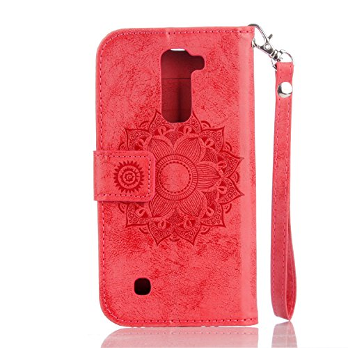 IKASEFU LG K7 Case,3D Clear Crown Rhinestone Diamond Bling Glitter Wallet with Card Holder Emboss Mandala Floral Pu Leather Magnetic Flip Case Protective Cover for LG K7,Red by IKASEFU (Image #4)