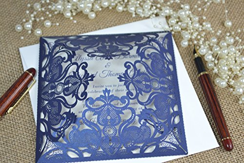 50 laser cut personalised wedding invitations with envelopes by FoxfordAtelier